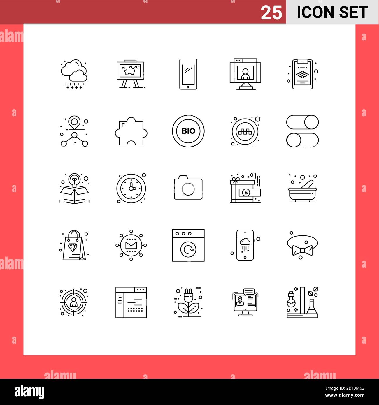 Modern Set Of 25 Lines And Symbols Such As Webcam Technology Phone Communications Iphone Editable Vector Design