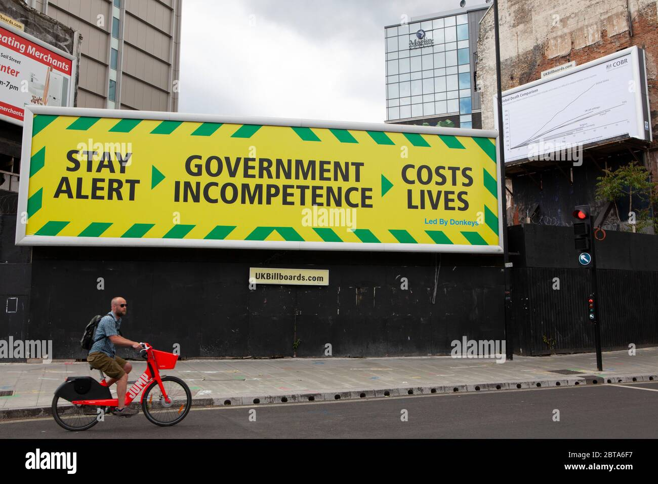 London, UK: 24 May 2020: Campaign group Led By Donkeys erected a pair of  billboards spoofing