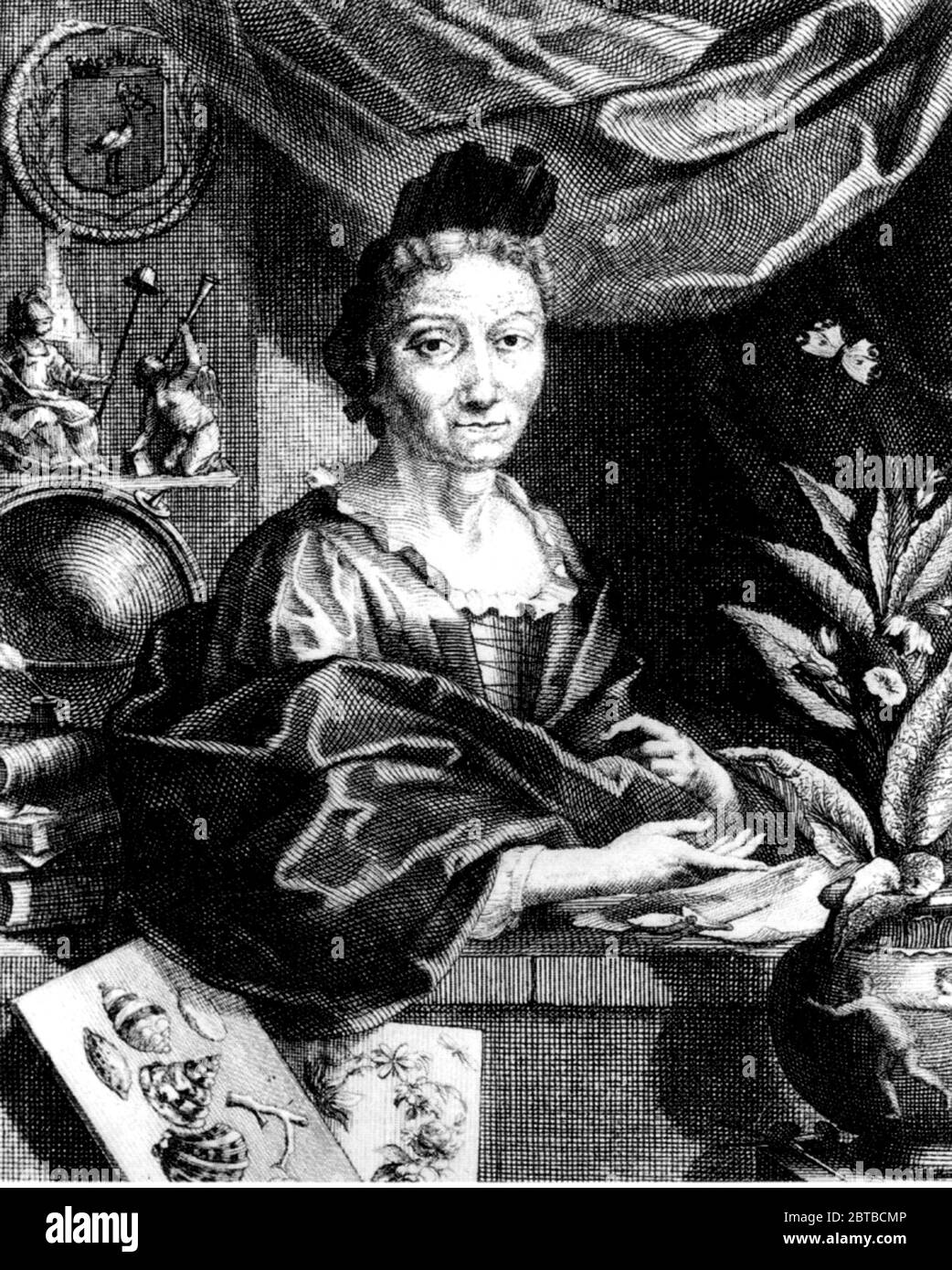 1700 c, GERMANY : The german naturalist woman painter , scientific illustrator and biologist MARIA SIBYLLA MERIAN ( 1647 - 1717 ). Sybylla's father was the Swiss engraver and pubblisher Matthäus Merian ( Matthew , 1593 - 1650 ) the Elder . Portrait by engraver Jacobus Houbraken from a portrait by Georg Gsell . - SYBILLA - HISTORY - foto storica storiche - portrait - ritratto - NATURALISTA - NATURALIST - SCIENZA - SCIENCE - BIOLOGY - BIOLOGIA - illustratrice - illustratore - illustrator - woman painter - pittrice - pittura - painting - ARTE - ARTS - ART - illustration - illustrazione - incision Stock Photo