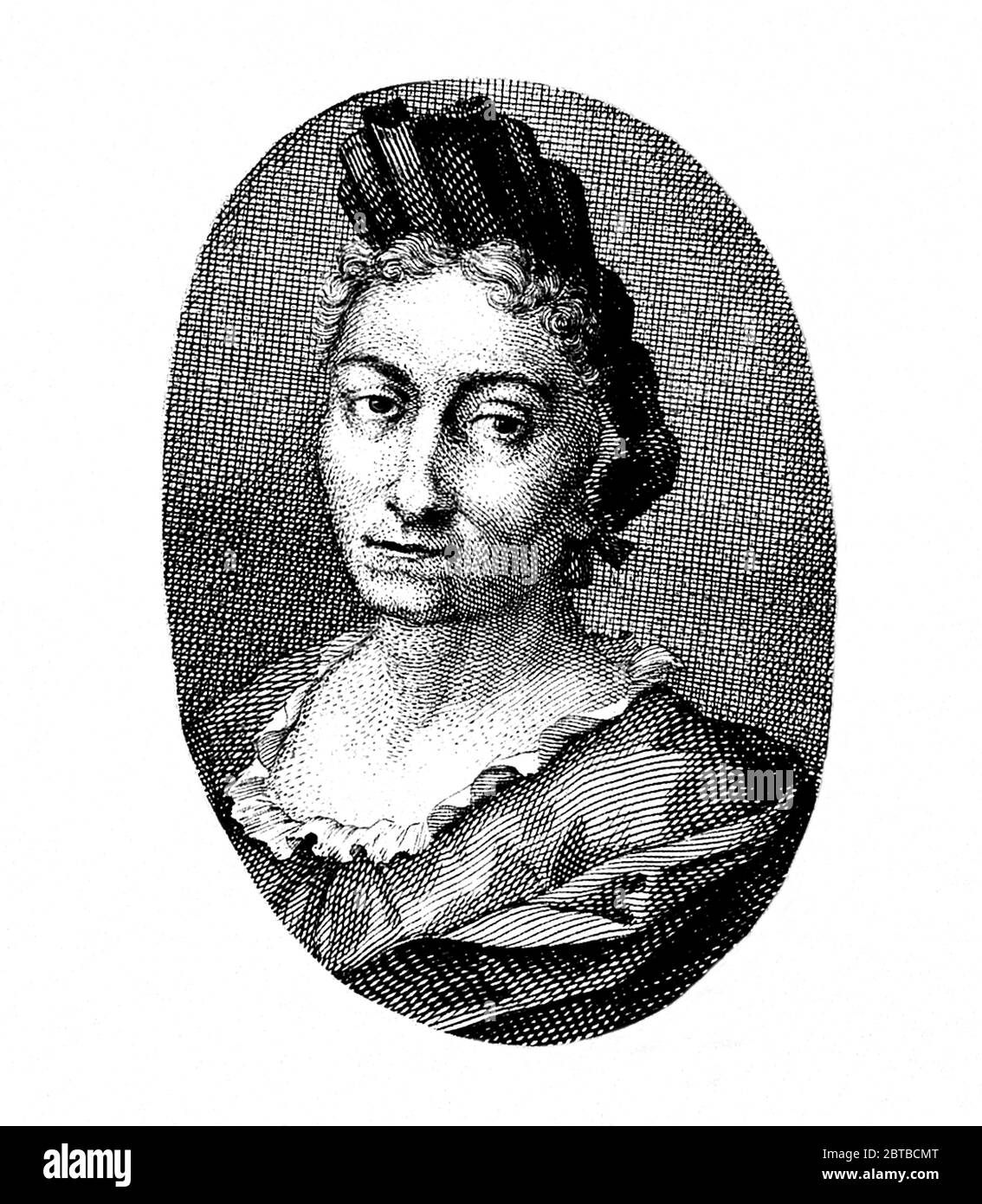 1700 c, GERMANY : The german naturalist woman painter , scientific illustrator and biologist MARIA SIBYLLA MERIAN ( 1647 - 1717 ). Sybylla's father was the Swiss engraver and pubblisher Matthäus Merian ( Matthew , 1593 - 1650 ) the Elder . Portrait by unknown engraver . - SYBILLA - HISTORY - foto storica storiche - portrait - ritratto - NATURALISTA - NATURALIST - SCIENZA - SCIENCE - BIOLOGY - BIOLOGIA - illustratrice - illustratore - illustrator - woman painter - pittrice - pittura - painting - ARTE - ARTS - ART - illustration - illustrazione - incisione - engraving ---- Archivio GBB Stock Photo