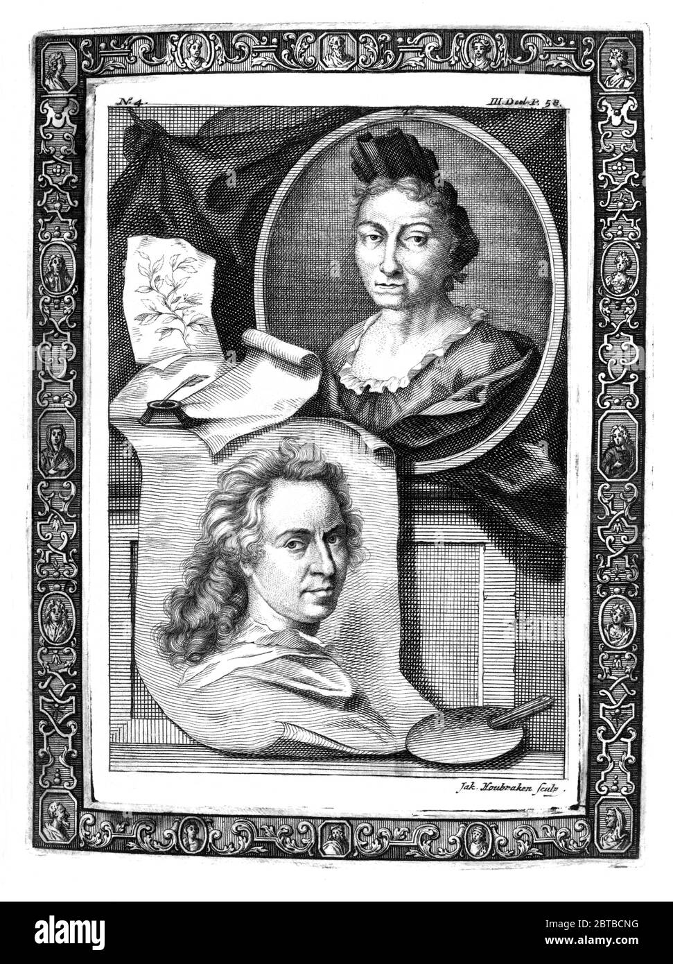 1729, GERMANY : The german naturalist woman painter , scientific illustrator and biologist MARIA SIBYLLA MERIAN ( 1647 - 1717 ). Sybylla's father was the Swiss engraver and pubblisher Matthäus Merian ( Matthew , 1593 - 1650 ) the Elder . Portrait by Jacobus Houbraken ( 1698 - 1780 ), after Georg Gsell, with the portrait (below) of Dutch portraitist painter David van der Plas ( 1647 - 1704 ). - SYBILLA - HISTORY - foto storica storiche - portrait - ritratto - NATURALISTA - NATURALIST - SCIENZA - SCIENCE - BIOLOGY - BIOLOGIA - illustratrice - illustratore - illustrator - woman painter - pittrice Stock Photo