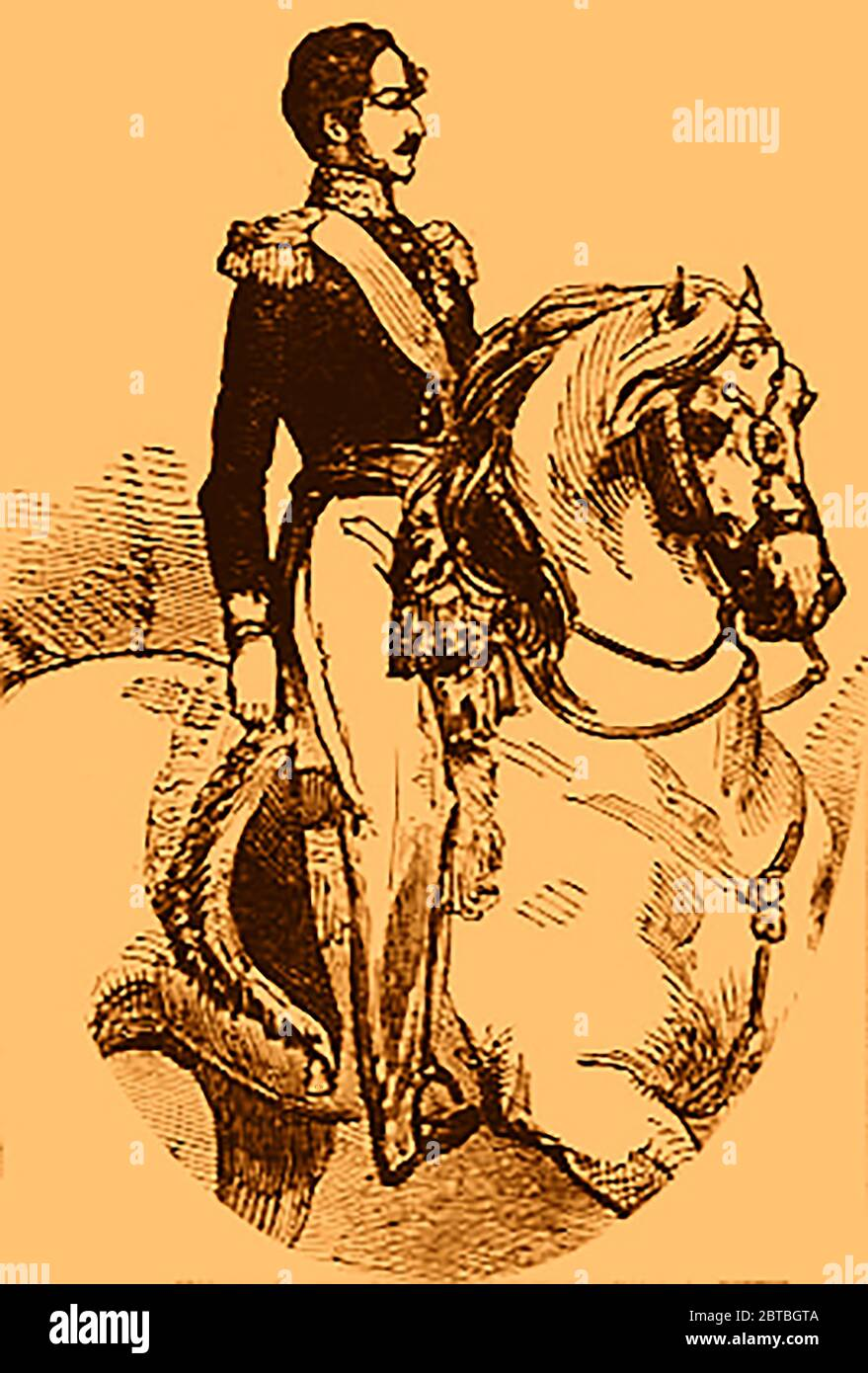 A portrait of Prince Ferdinand Philippe of Orléans (1810-1842) on his horse  painted soon after his death   - The Duke of Orleans died leaping from a runaway carriage - It is said he fractured his skull after leaping from his open carriage when the horses bolted.  (1842 illustration) Stock Photo