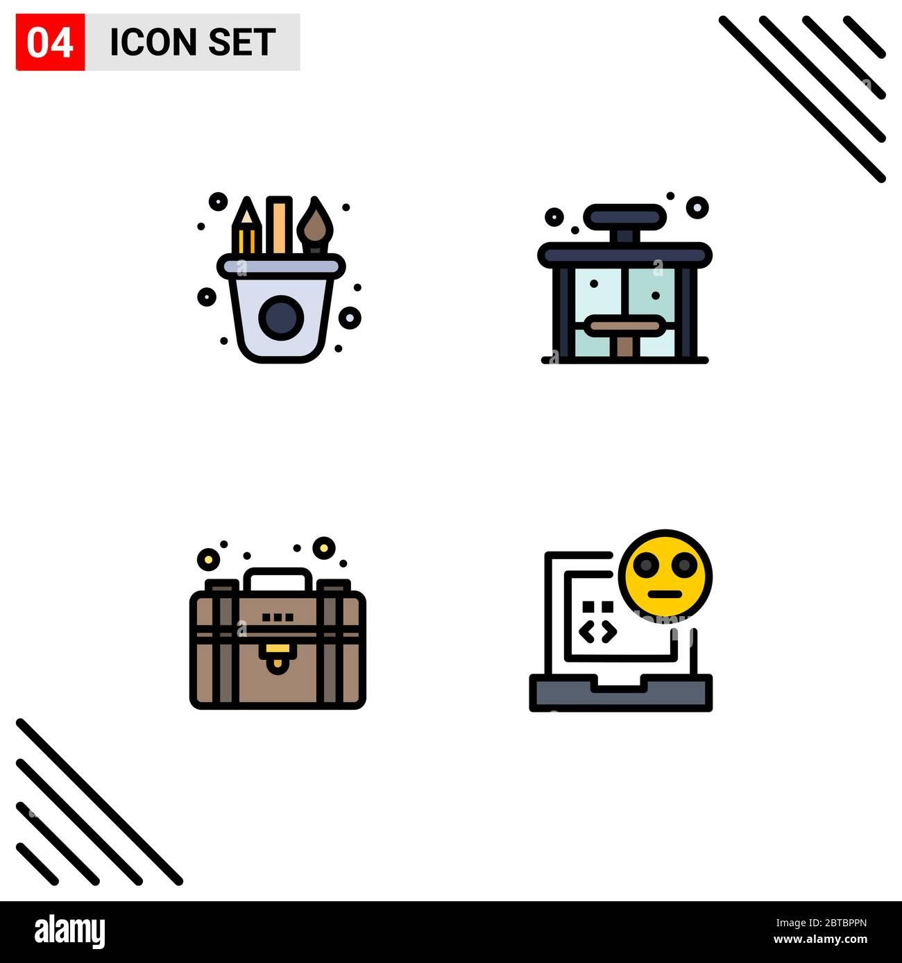 4 Filledline Flat Color Concept For Websites Mobile And Apps Art Equity Craft Bus Private Editable Vector Design Elements Stock Vector Image Art Alamy,Funeral Program Design