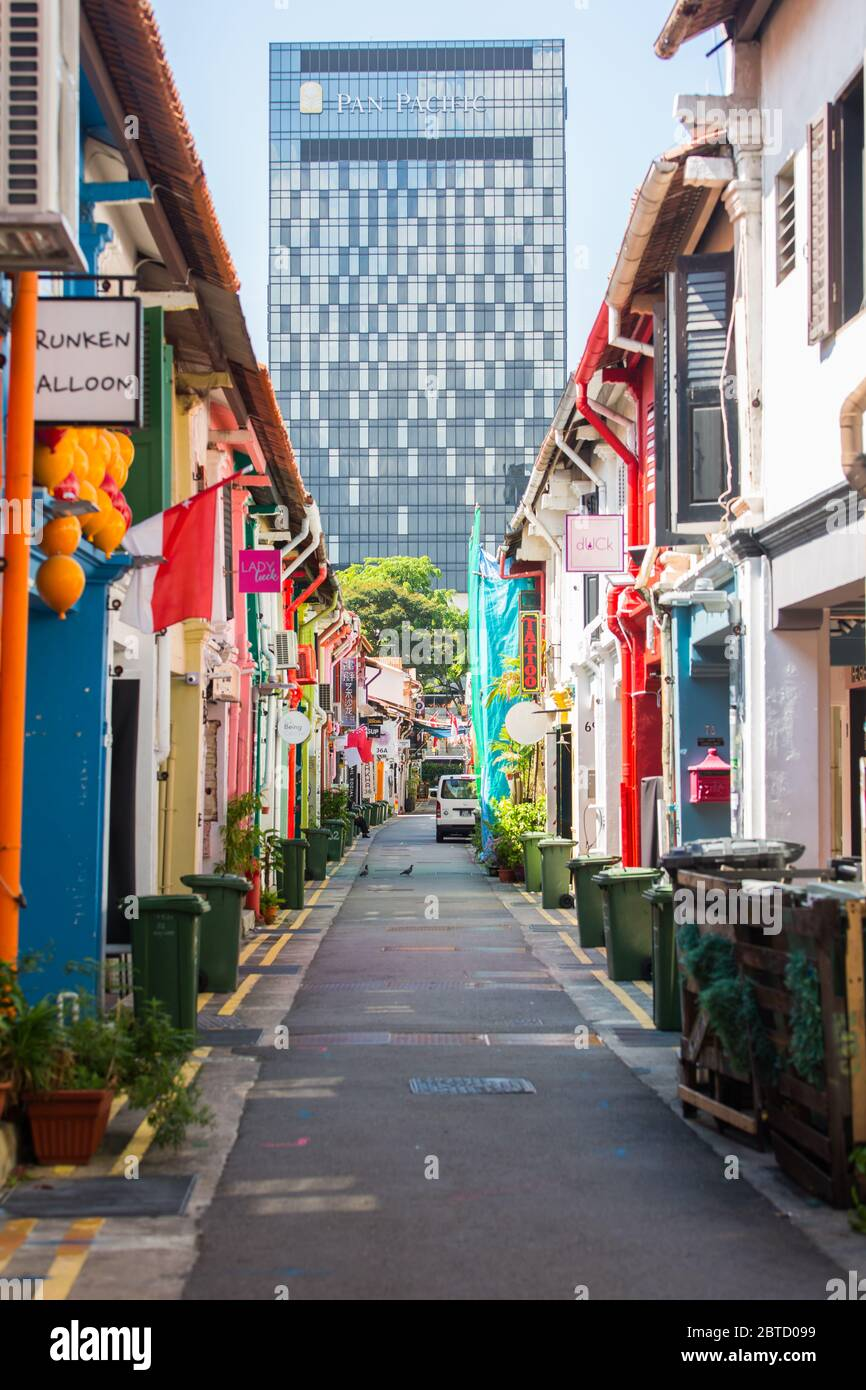 Street of Haji Lane with no people because of the covid-19 pandemic, Singapore Stock Photo