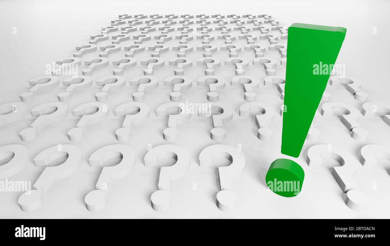 One green exclamation mark and many question marks in line and order aligned on white background, 3d rendering, rendered illustration, digital concept Stock Photo