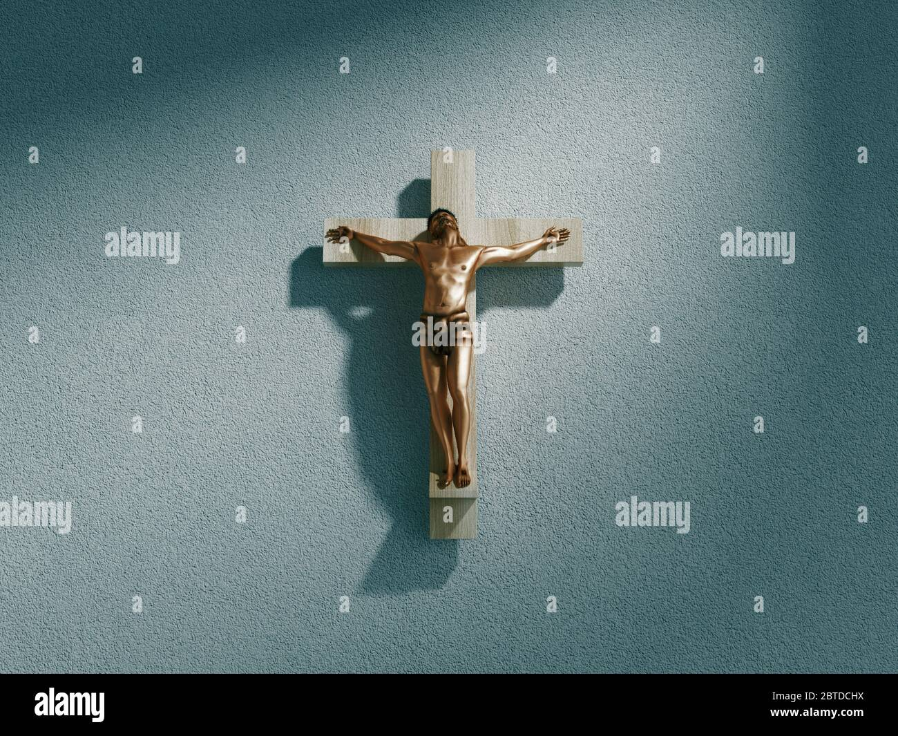 Crucifix on wall in spotlight inside old dark church or cathedral. Jesus Christ on cross. Religion, belief and hope. Holy and sacred places. 3d Stock Photo