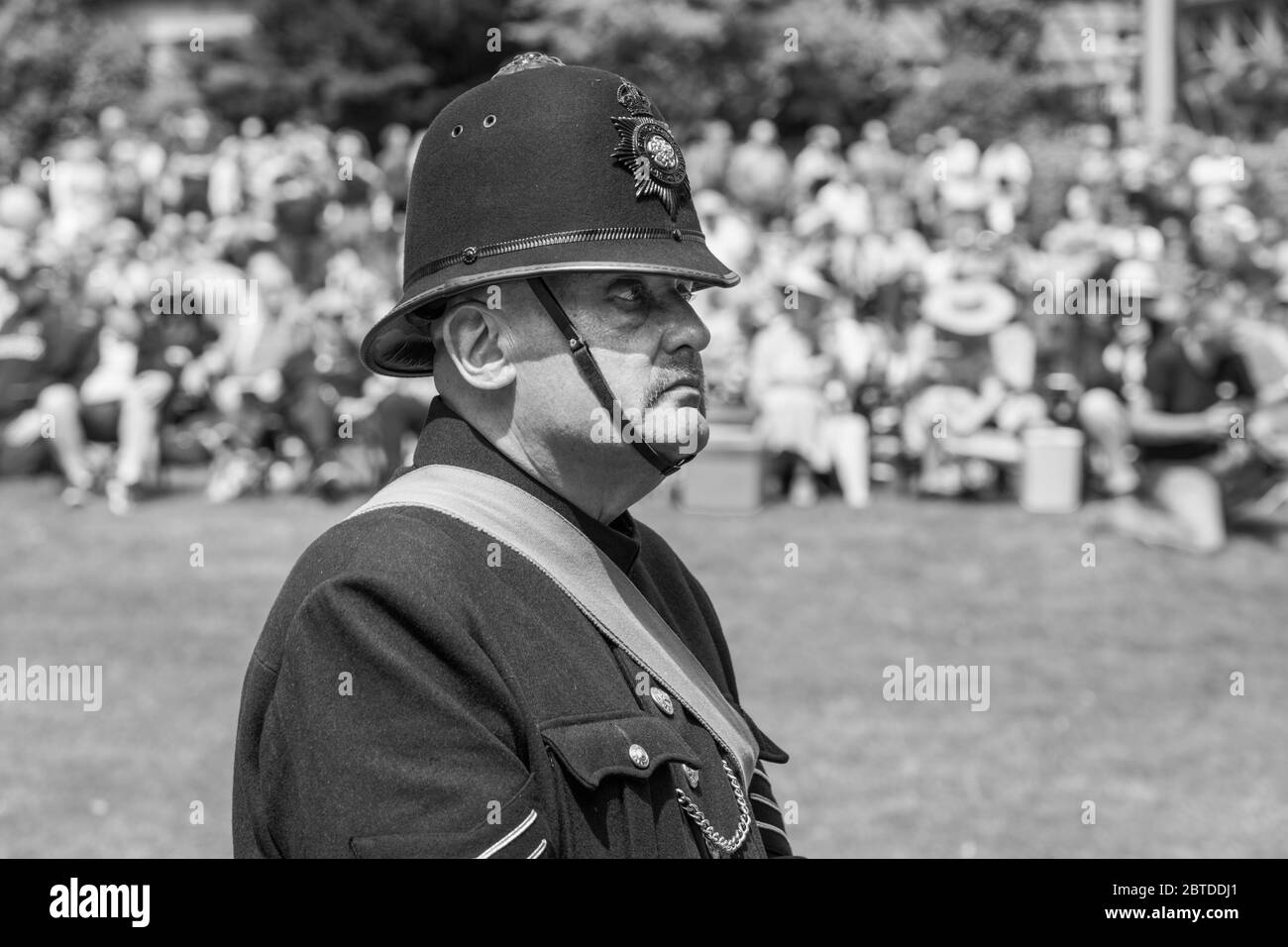 1940's style Policeman at the annual 1940's Day at The Valley Gardens, Harrogate, North Yorkshire, England, UK. Stock Photo