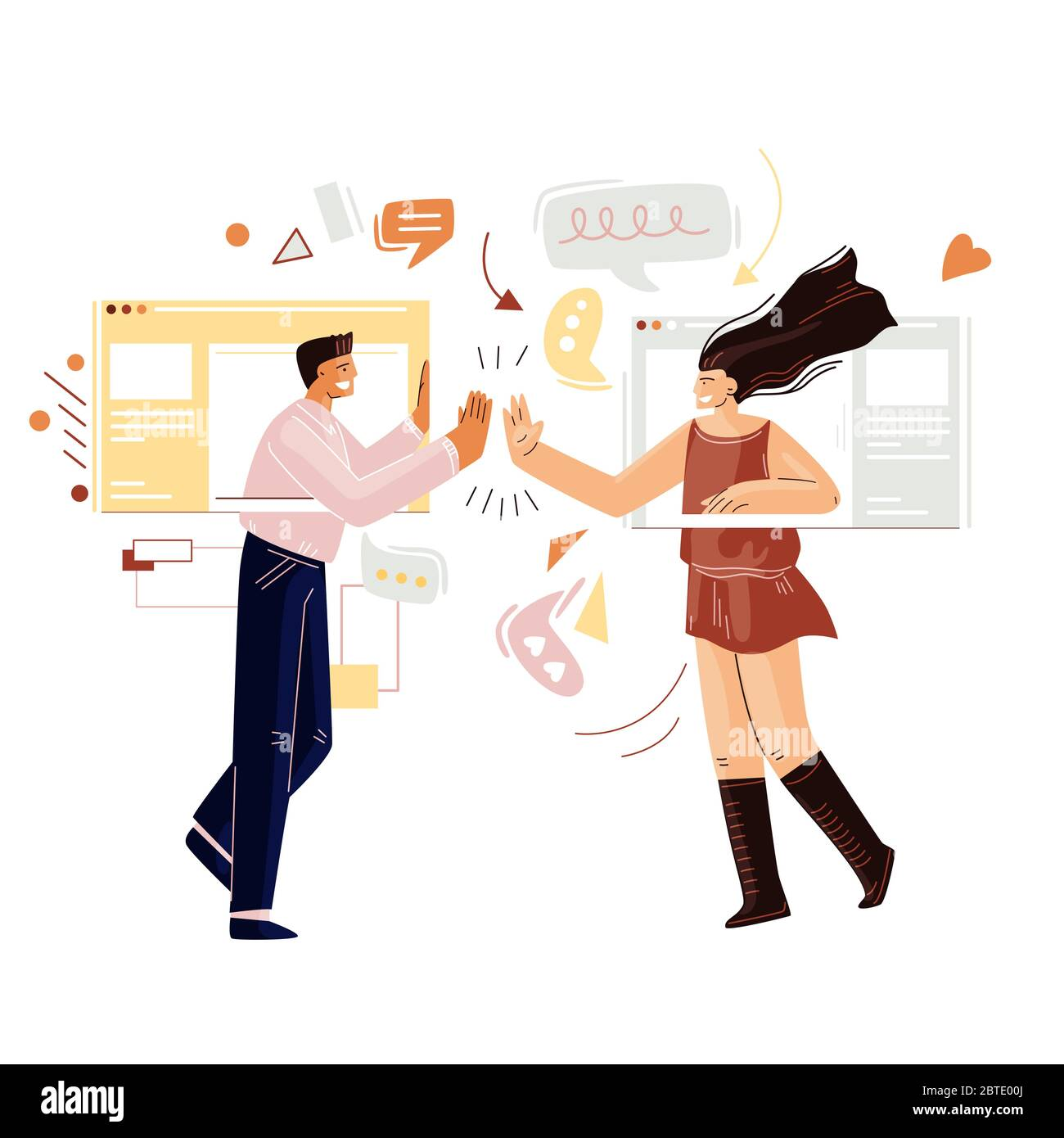 Man and woman chatting online, having remote video call with web internet interface, online messenger. Friends communicating online Stock Vector
