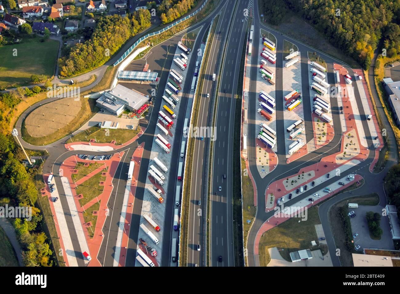 autobahn rest areas Sauerland West and Sauerland Ost on the motorway A 45, 30.08.2019, aerial view, Germany, North Rhine-Westphalia, Luedenscheid, Luedenscheid Stock Photo