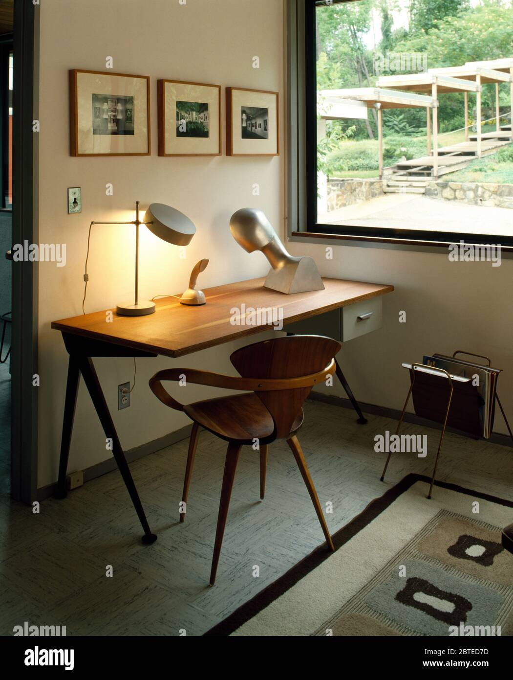 Mid Century Chair And Desk In Fifties Style Study Stock Photo Alamy
