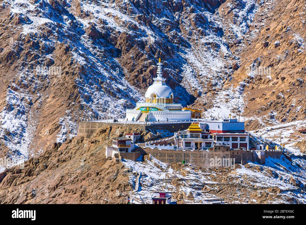 The stupa is one of the ancient & oldest stupas located in Leh city, Ladakh, Jammu & Kashmir, India, Asia. Shanti stupa is a silent and peaceful place. Stock Photo
