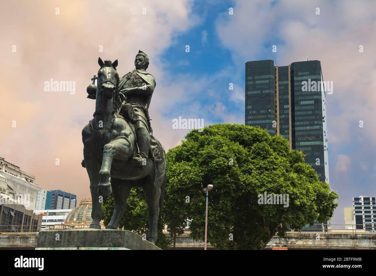 Dom Joao VI Statue, Praça XV, Rio de Janeiro, Brazil Stock Photo