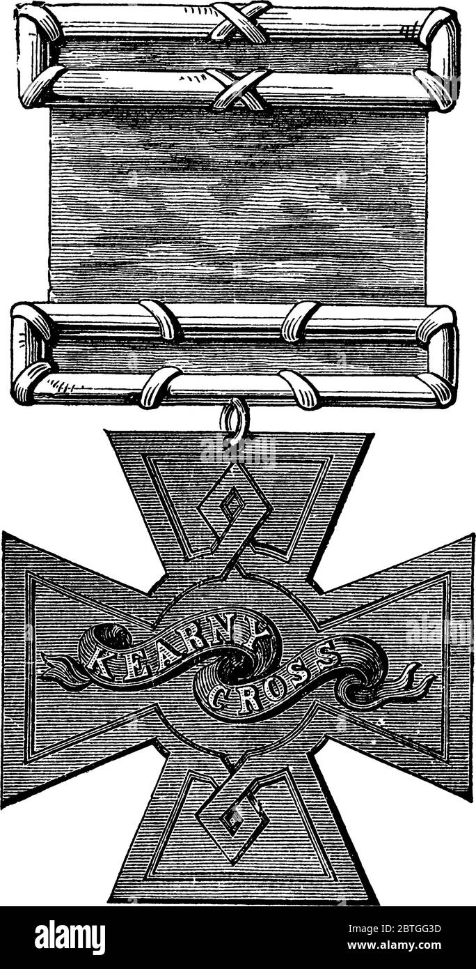 Figure showing Kearny Cross, it was a military decoration of the United States Army for military heroism, vintage line drawing or engraving illustrati Stock Vector