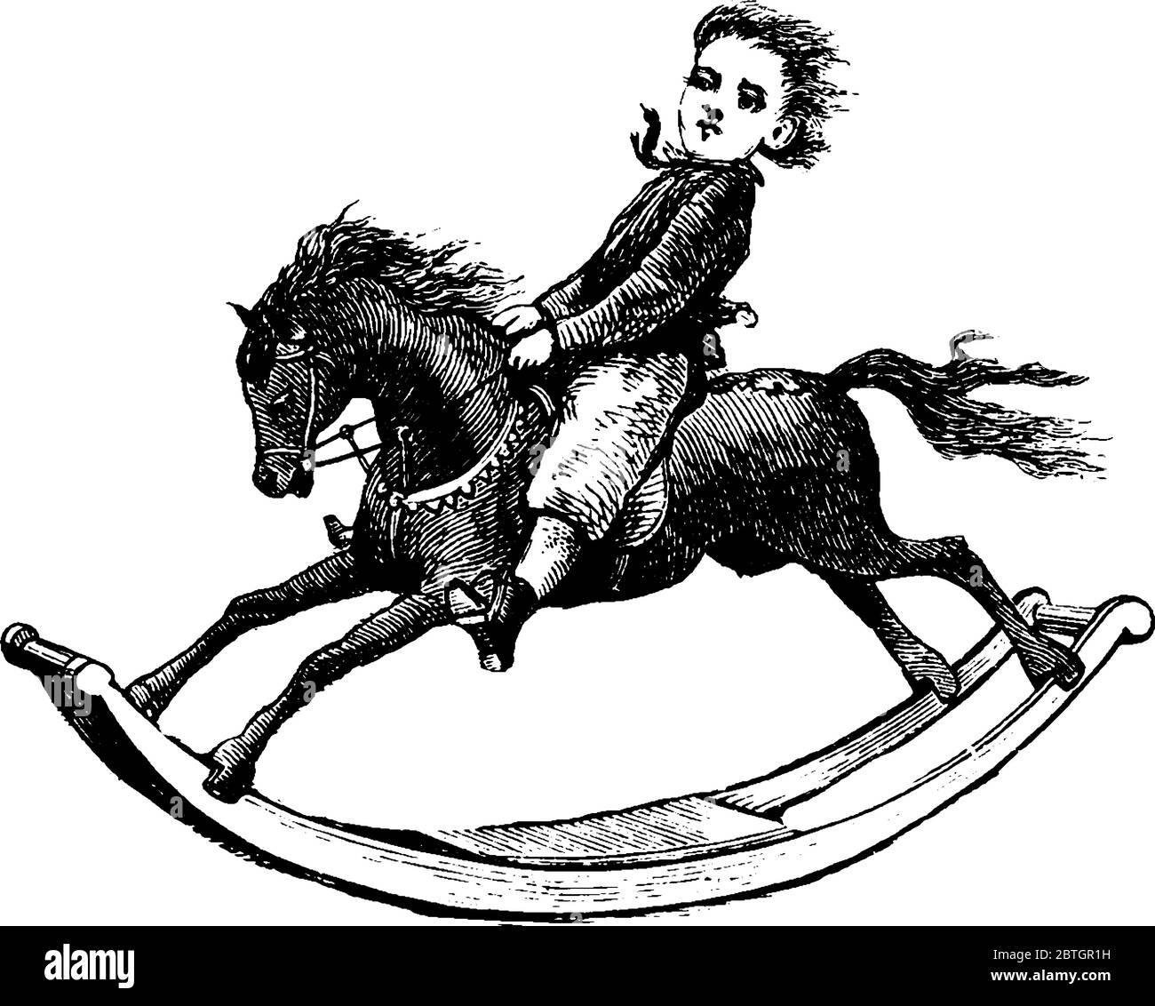 A Little Boy Riding On Toy Rocking Horse And Enjoying Like Real Horse Ride Vintage Line Drawing Or Engraving Illustration Stock Vector Image Art Alamy