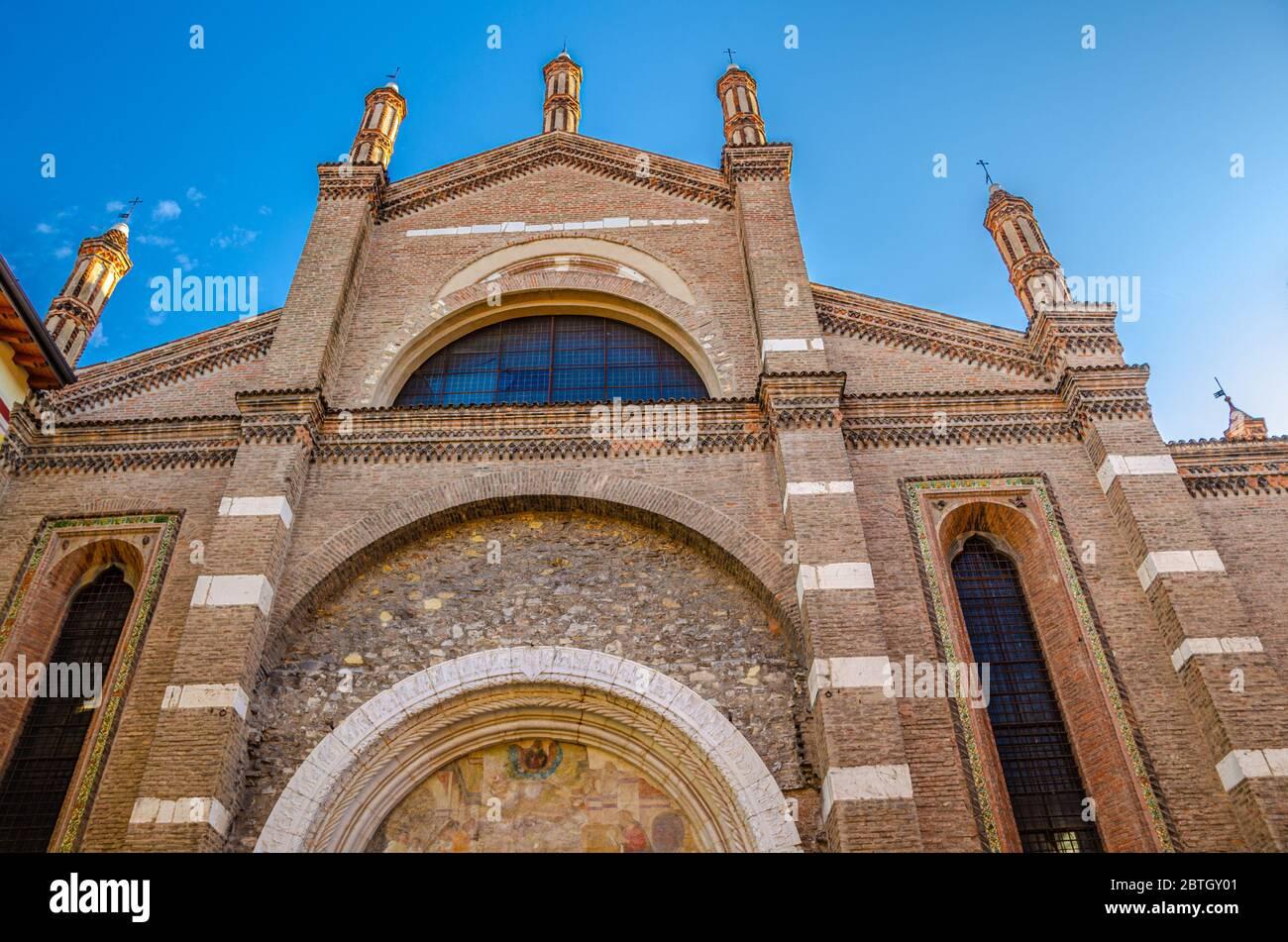 Chiesa di Santa Maria del Carmine Saint Maria of Carmine catholic church facade, Gothic style building, Brescia city historical centre, Italian churches, Lombardy, Northern Italy Stock Photo