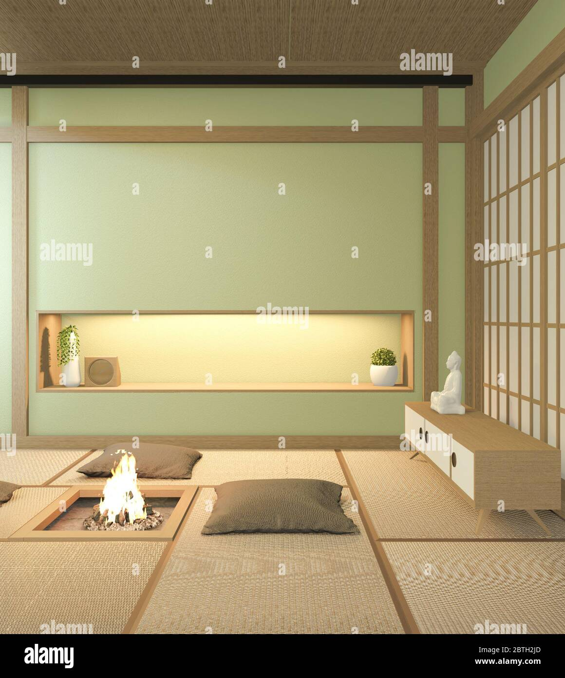 Nihon Green Room Design Interior With Door Paper And Cabinet Shelf Wall On Tatami Mat Floor Room Japanese Style 3d Rendering Stock Photo Alamy