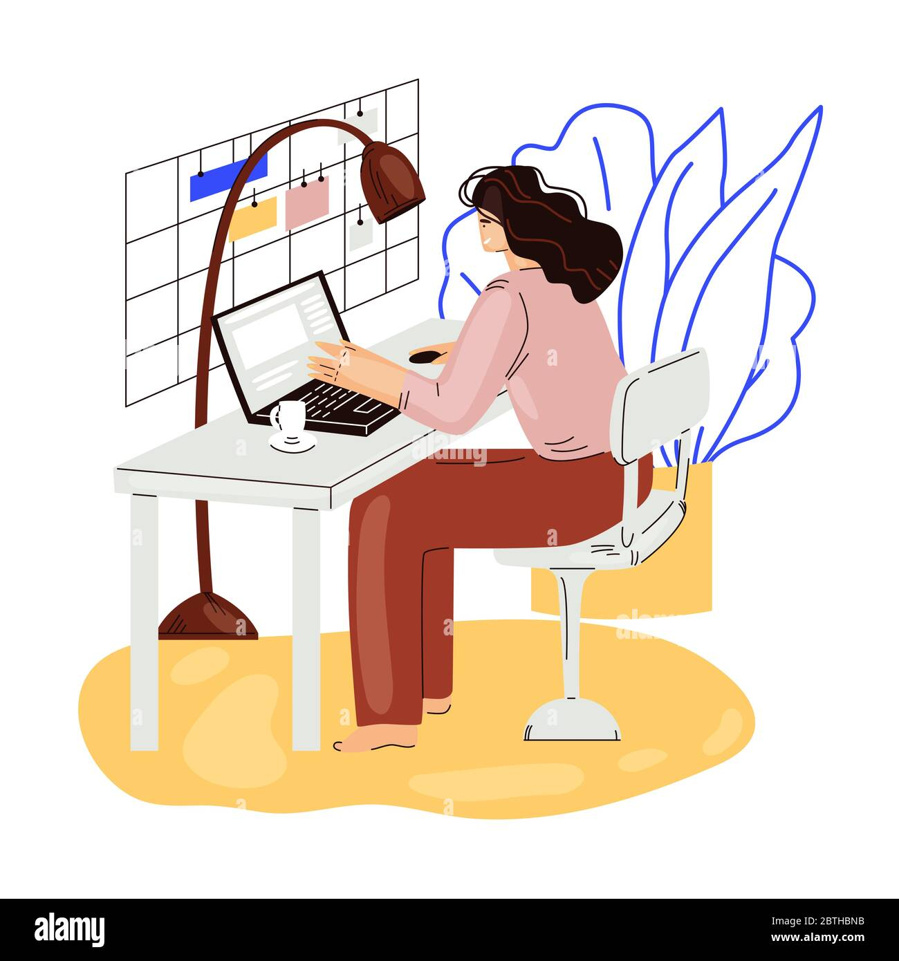 Freelance woman work in comfortable cozy home office vector flat illustration. Freelancer girl character working from home at relaxed pace, self Stock Vector