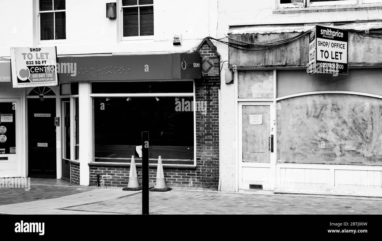Empty Closed High Street Shops In South London During The UK Coronavirus 2020 Highlighting Damage To Retail Industries Stock Photo