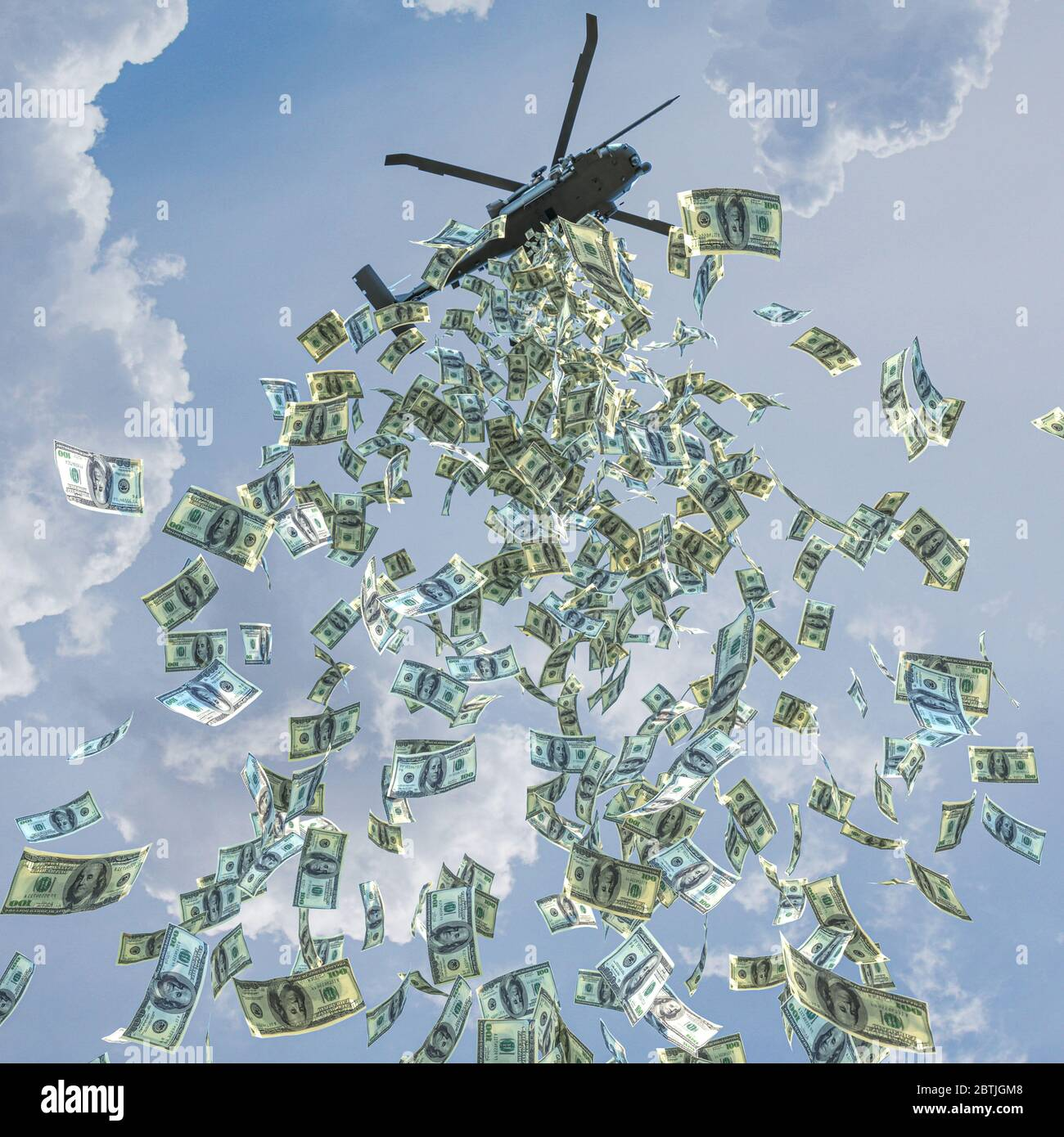 Helicopter money concept, dollars are spread out to increase financial liquidity. Economy and finance. 3d render. Stock Photo