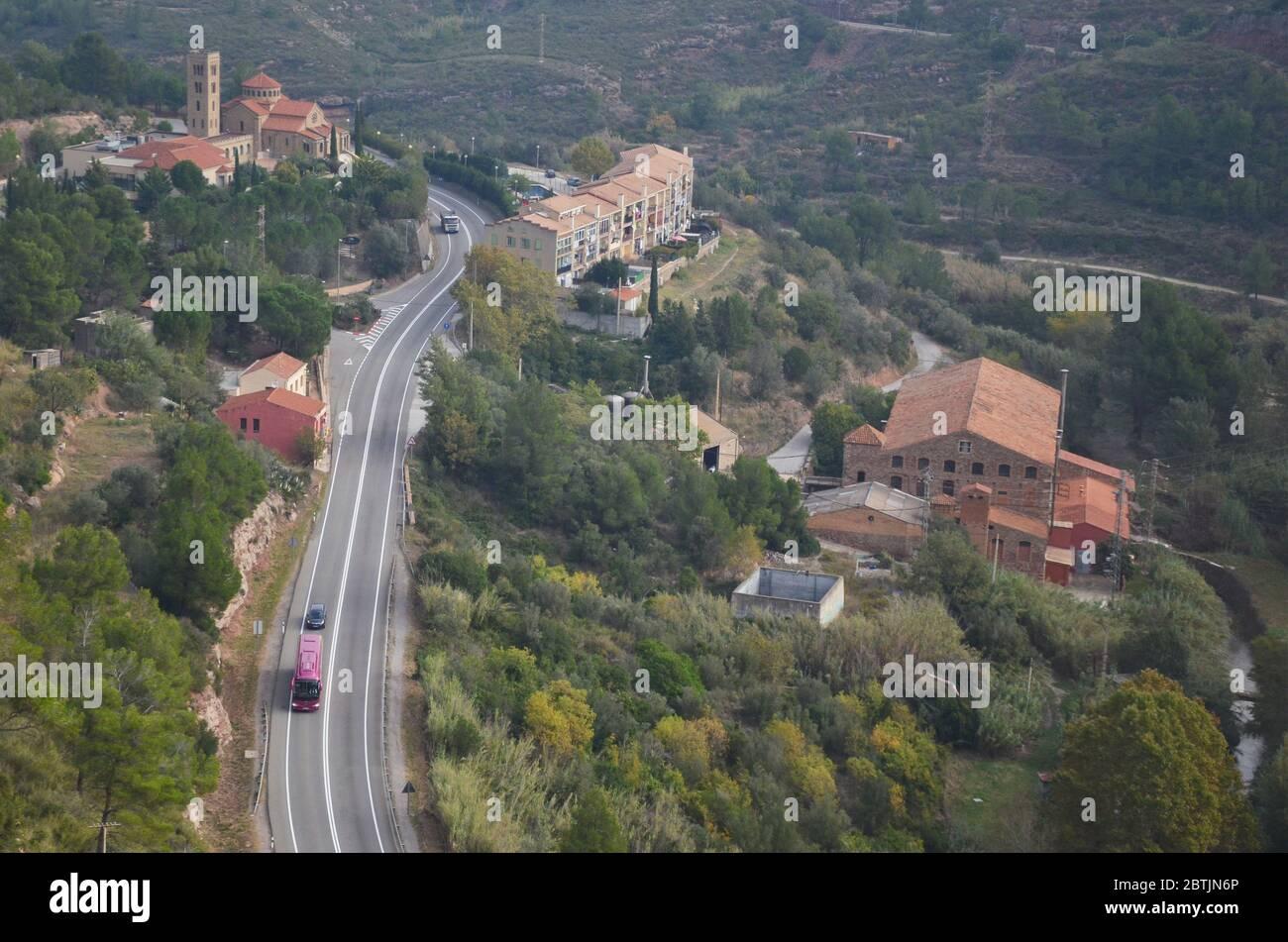 Montserrat is a multi-peaked mountain range near Barcelona, in Catalonia, Spain. It is part of the Catalan Pre-Coastal Range Stock Photo
