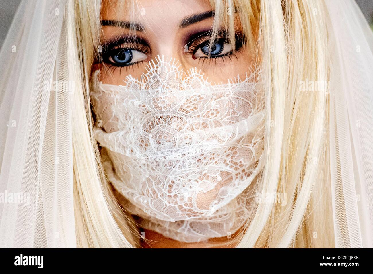 A View Of A Mannequin Dressed With A Bridal Laced Facemask A Bridal Shop In Rotterdam Makes Face Masks To Match Wedding Dresses For Upcoming Brides Stock Photo Alamy