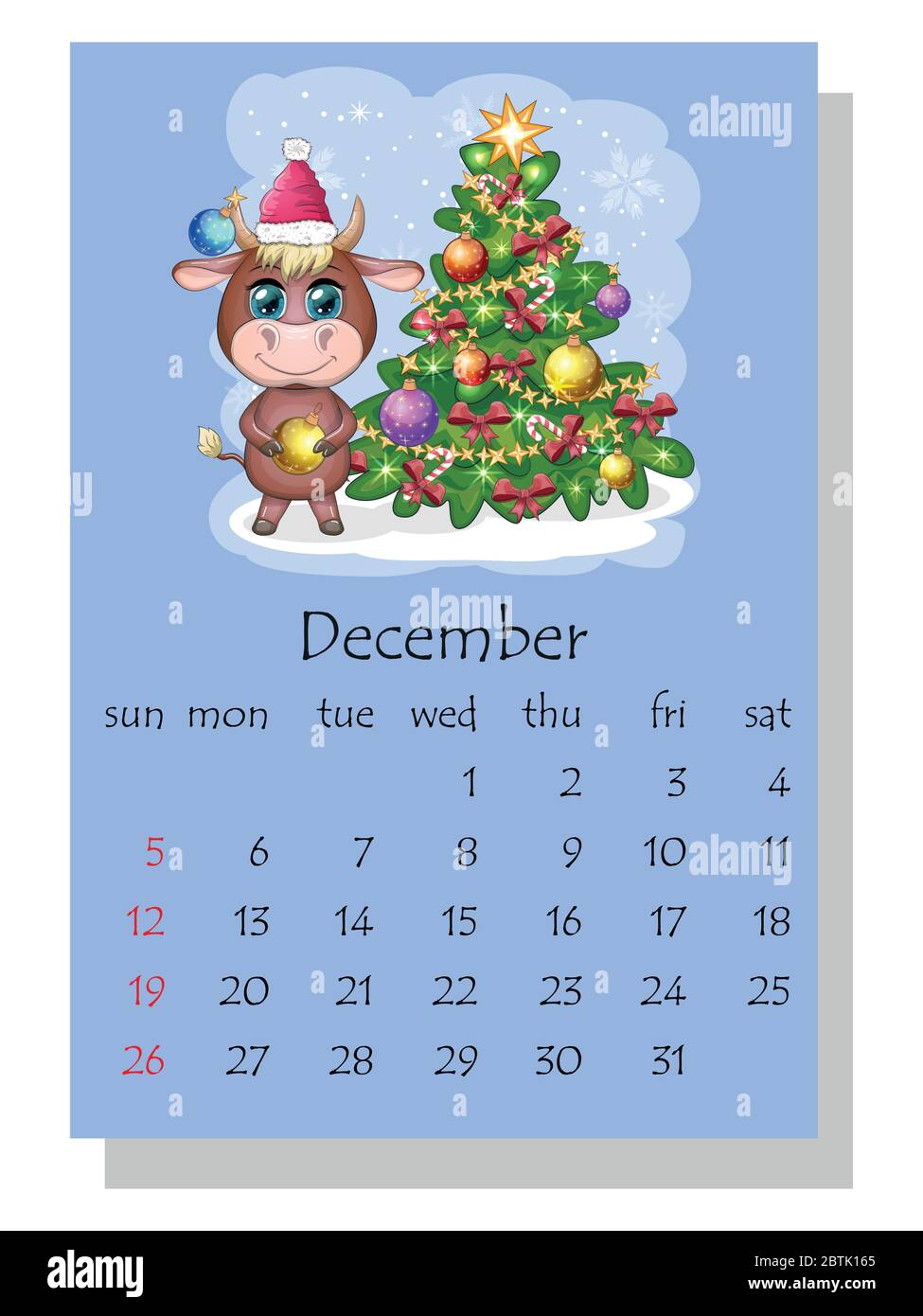Calendar 2021. Cute bull and cow for month December Stock Vector