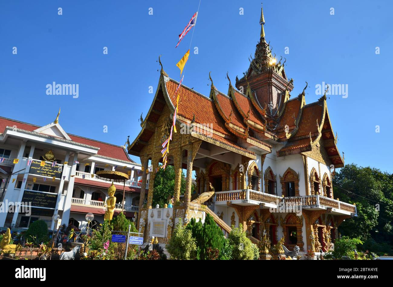 Library building of Wat Buppharam in Chiang Mai Stock Photo