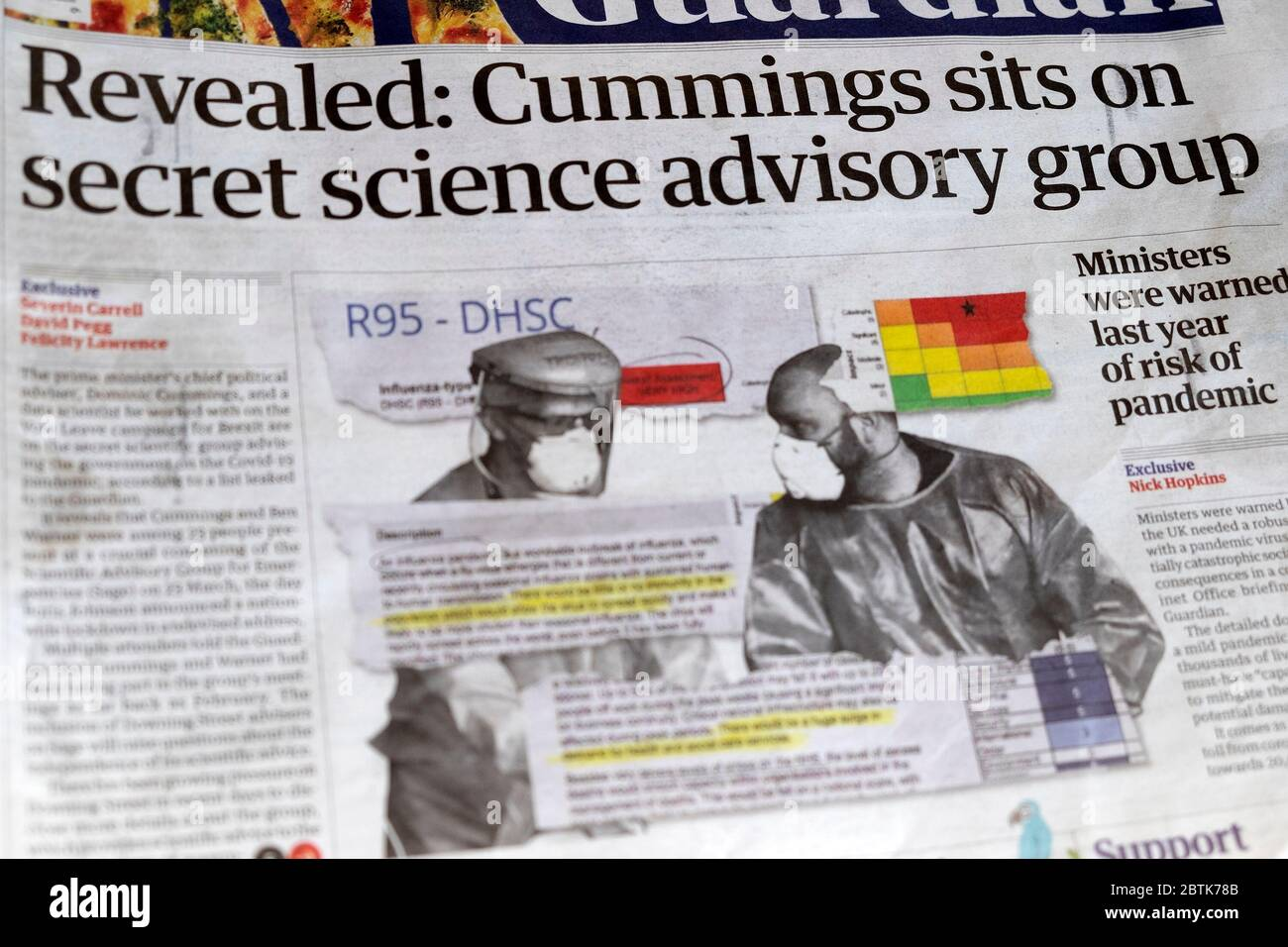 "Newspaper headline ""Revealed: Cummings sits on secret science advisory group"" Sage  in Guaridan 24 April 2020 London UK Stock Photo"