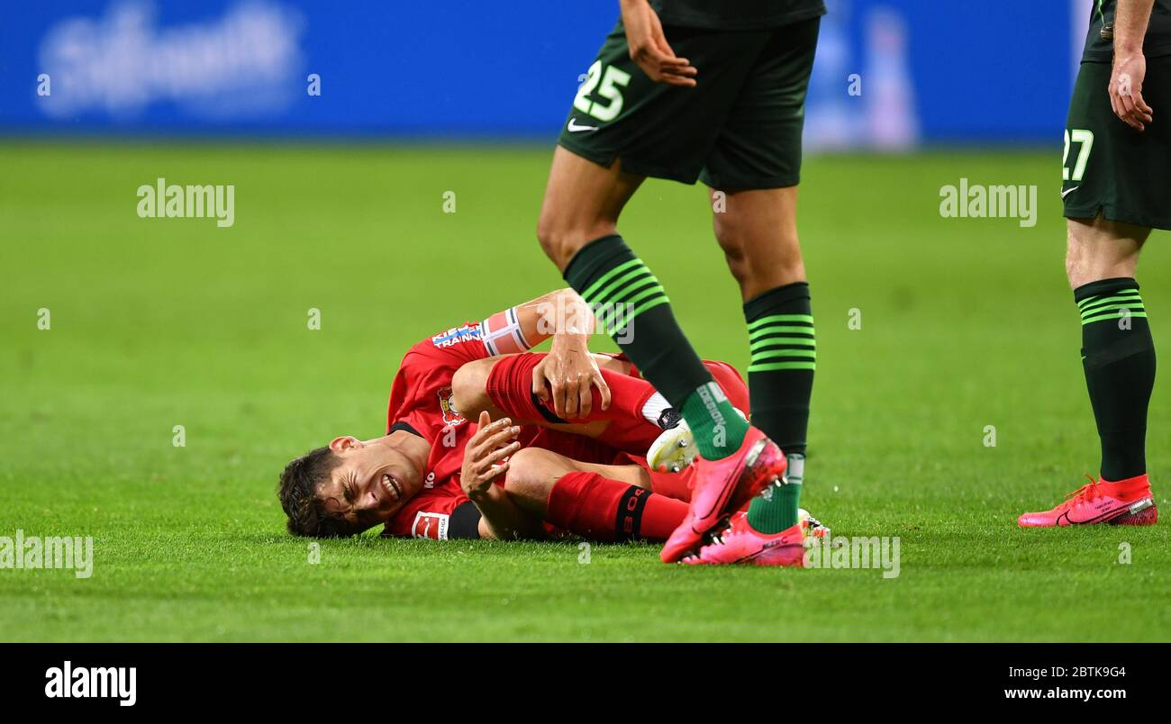 Leverkusen, Germany. 26th May, 2020. Football: Bundesliga, Bayer Leverkusen - VfL Wolfsburg, 28th matchday in the BayArena. Kai Havertz of Leverkusen reacts after the game. IMPORTANT NOTICE: In accordance with the regulations of the DFL Deutsche Fußball Liga and the DFB Deutscher Fußball-Bund, it is prohibited to use or have used in the stadium and/or photographs taken of the match in the form of sequence images and/or video-like photo series. Credit: Marius Becker/dpa-Pool/dpa/Alamy Live News Stock Photo