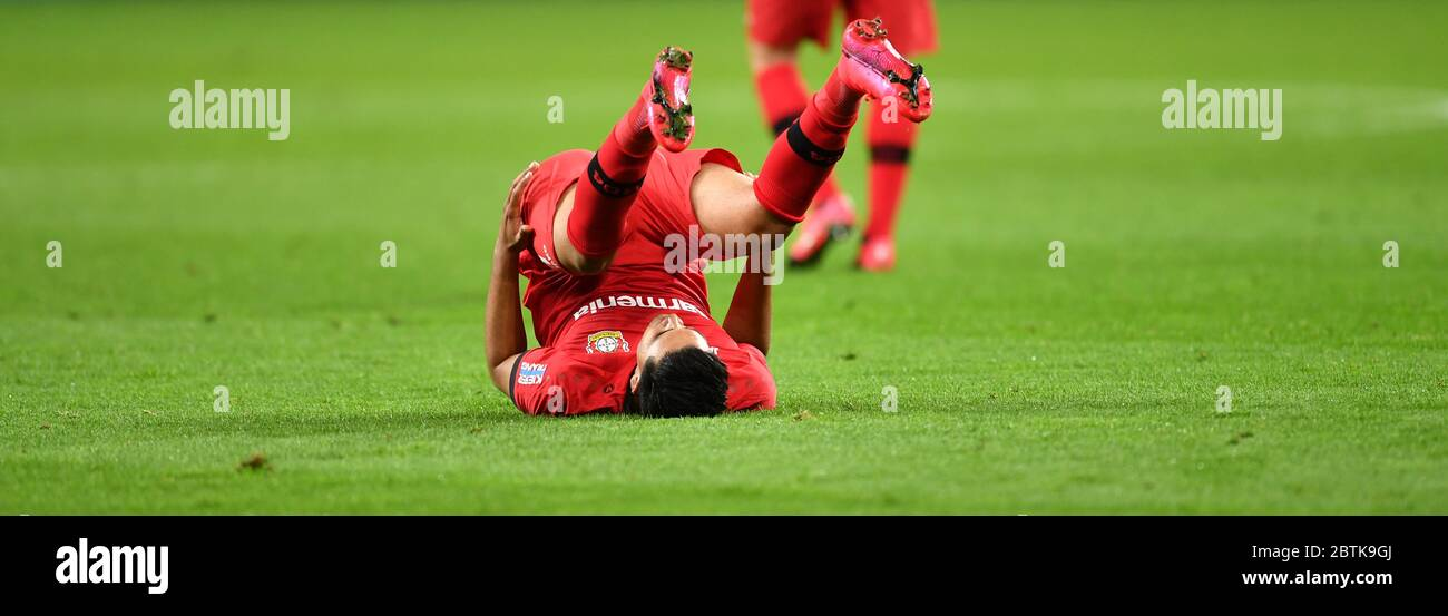 Leverkusen, Germany. 26th May, 2020. Football: Bundesliga, Bayer Leverkusen - VfL Wolfsburg, 28th matchday in the BayArena. Nadiem Amiri of Leverkusen is disappointed after the defeat. IMPORTANT NOTE: According to the regulations of the DFL Deutsche Fußball Liga and the DFB Deutscher Fußball-Bund, it is prohibited to use or have used in the stadium and/or from the game taken photographs in the form of sequence pictures and/or video-like photo series. Credit: Marius Becker/dpa-Pool/dpa/Alamy Live News Stock Photo