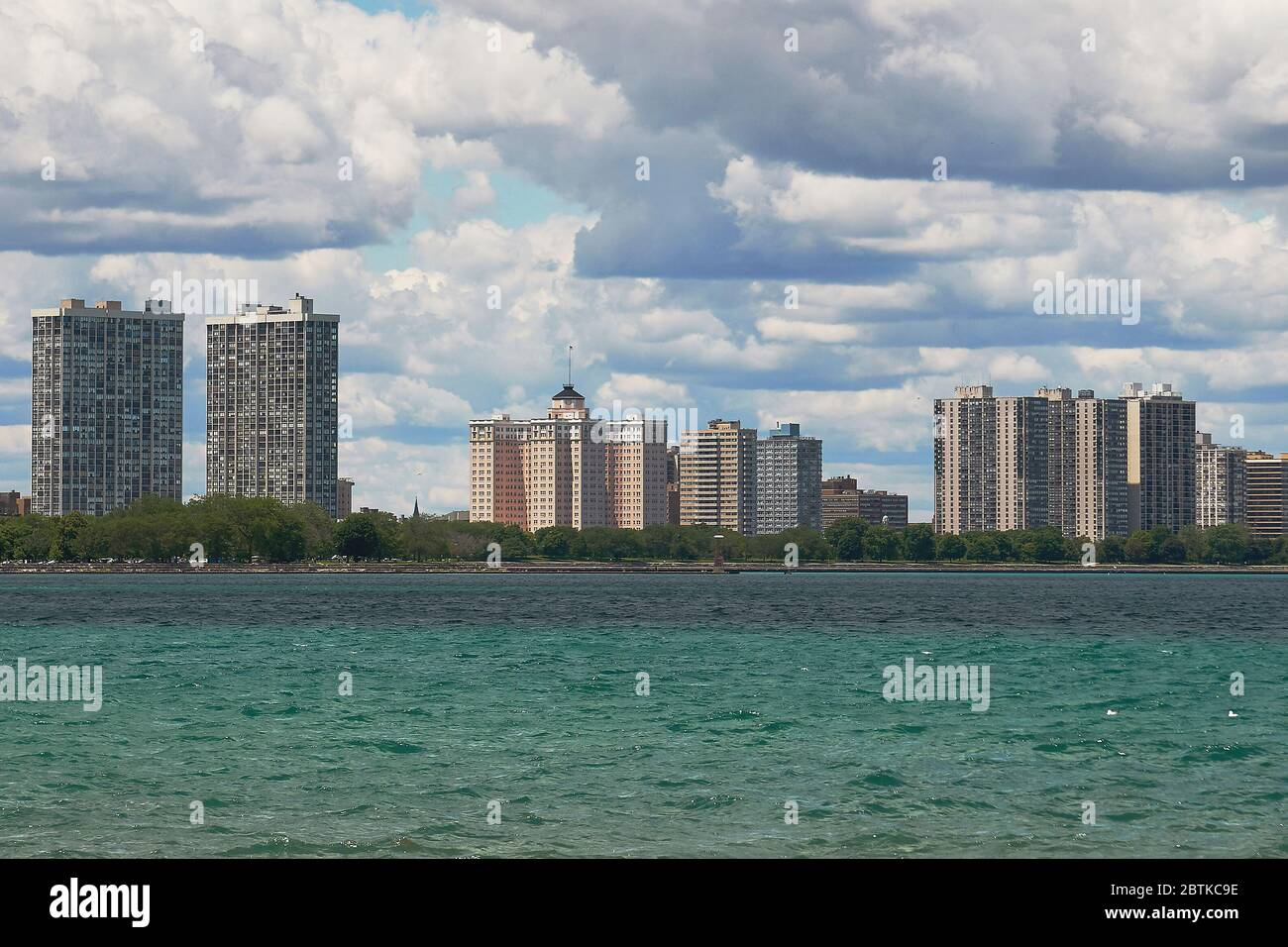 view of Chicago north shore, looking across Lake Michigan Stock Photo