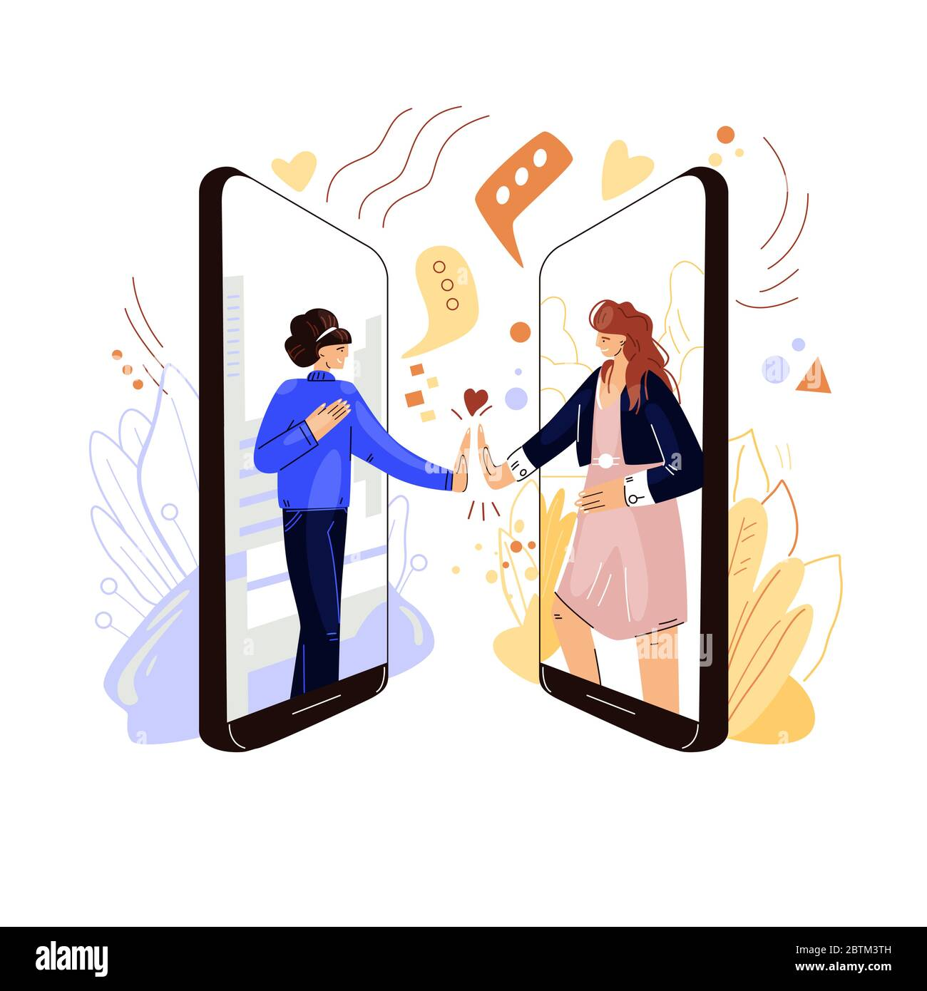 Online friends support vector flat concept. Two woman characters holding hands, sharing sympathy, support and love to each other with remote virtual Stock Vector