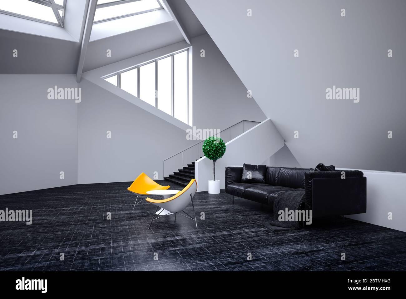 3d beautiful minimalist interior design Stock Photo