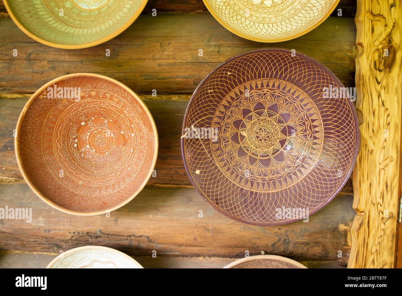 Rustic Handmade Ceramic And Clay Bowls And Plates Decorated By Traditional Ornament And Pattern Authentic From Belarus Stock Photo Alamy