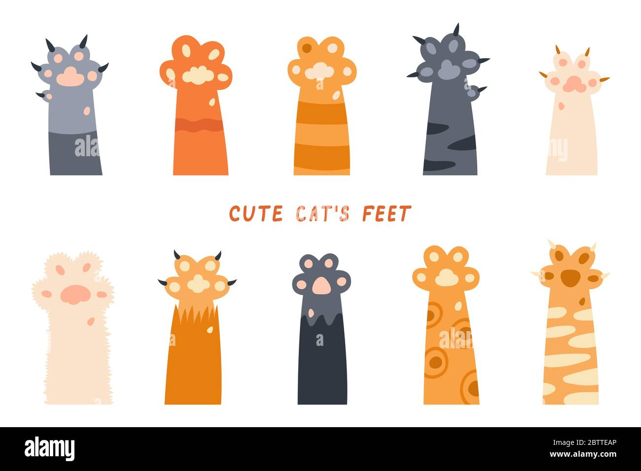 Cat Paws Legs Dog Paw Cat Background Kitten Flat Design Prints Cartoon Cute Cat Foot Wallpaper Vector Illustration Stock Vector Image Art Alamy