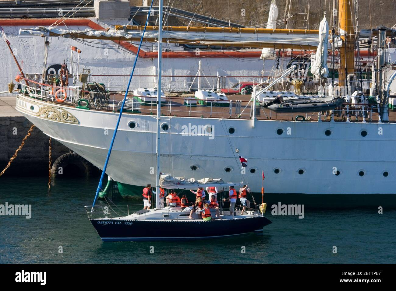 Sailing ship & yacht in Valparaiso Port, Chile, South America Stock Photo