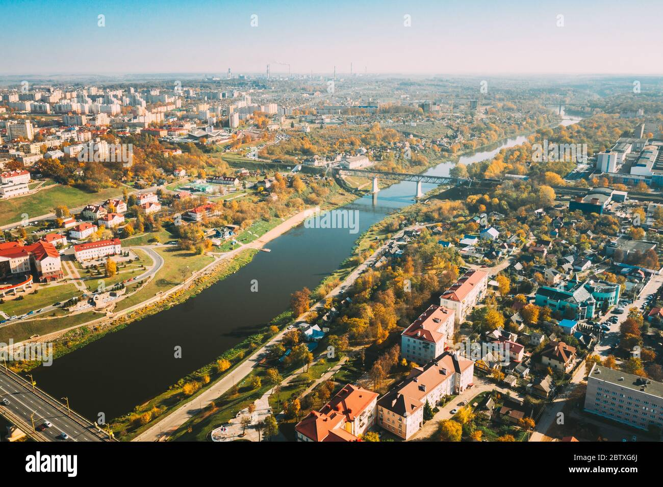 Grodno, Belarus. Aerial Bird's-eye View Of Hrodna Cityscape Skyline. Residential District In Sunny Autumn Day. Stock Photo