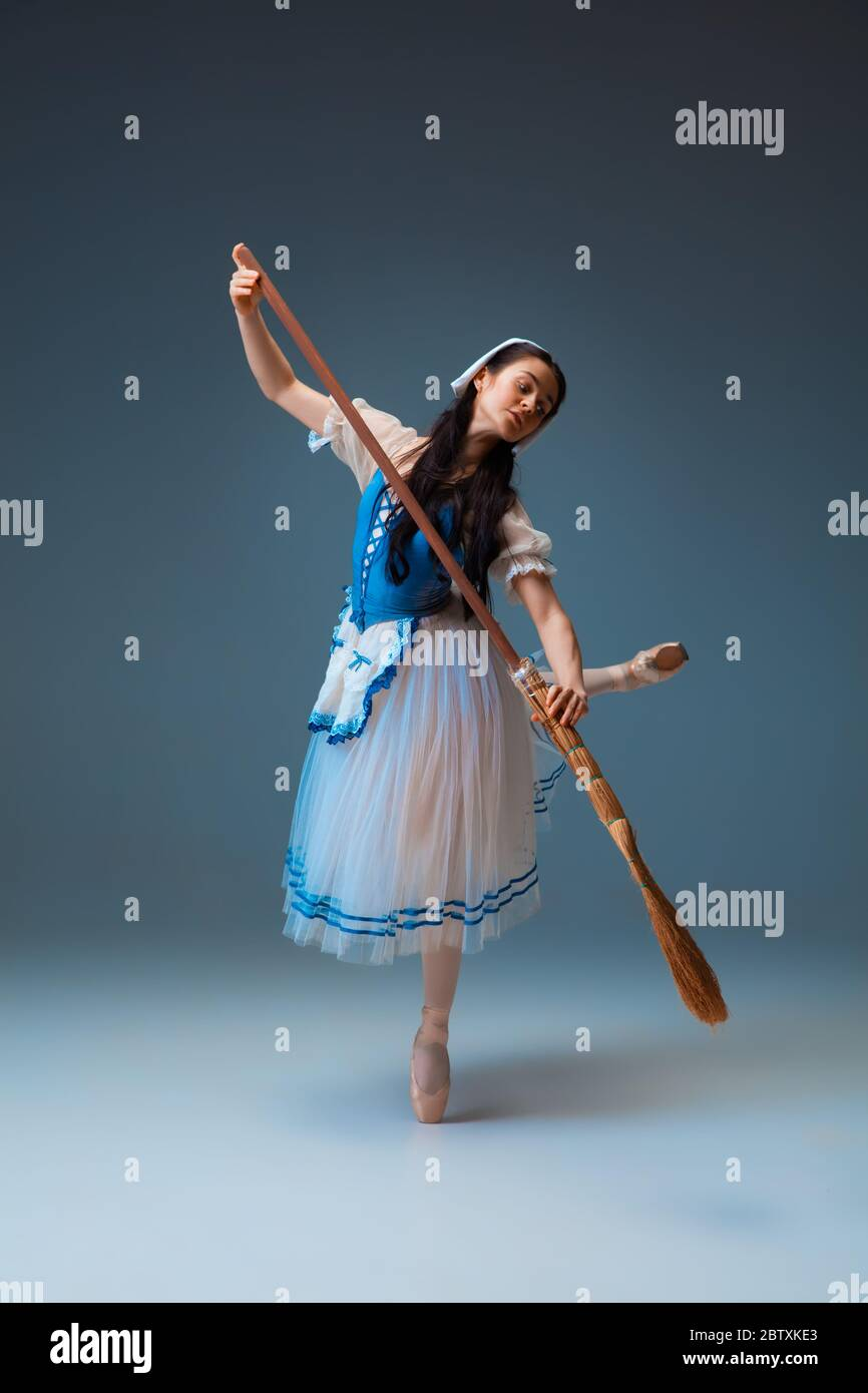 Balanced Young And Graceful Female Ballet Dancer As Cindrella Fairytail Character On Studio Background Art Motion Action Flexibility Inspiration Concept Flexible Ballerina In Inspired Dancing Stock Photo Alamy
