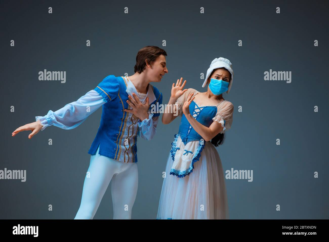 Modern Cinderella Avoiding Kissing With Prince Without Protective Face Mask Young And Graceful Ballet Dancers During Show On Studio Background Art Motion Flexibility Inspiration Concept Stock Photo Alamy