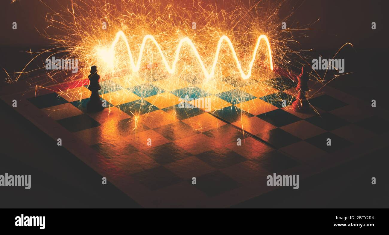 Two chess kings fighting Stock Photo