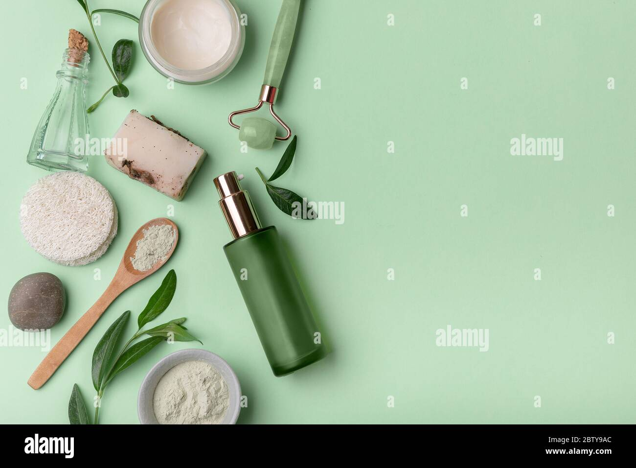 Beauty Background With Facial Cosmetic Products Eco Friendly Cosmetic And Skin Care Products Massager Facial Oil Handmade Soap Face Cream Mask Bo Stock Photo Alamy