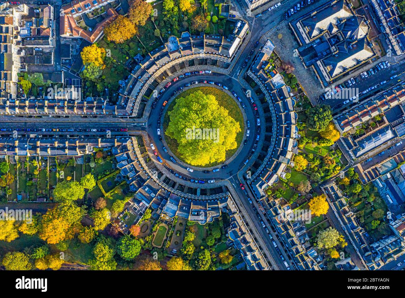 Aerial view by drone over the Georgian housing of The Circus, UNESCO World Heritage Site, Bath, Somerset, England, United Kingdom, Europe Stock Photo