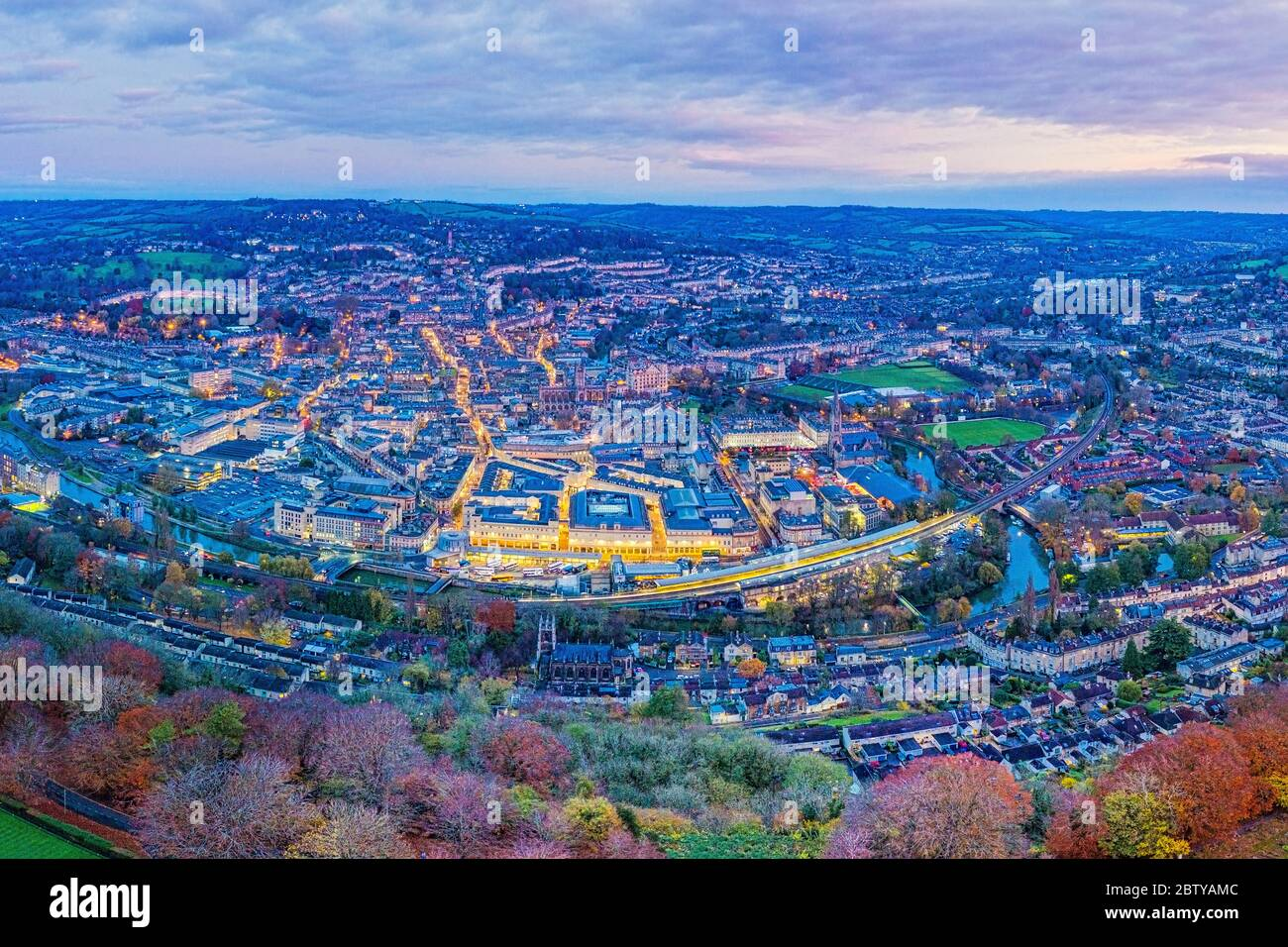 Aerial view by drone over the Georgian city of Bath, Somerset, England, United Kingdom, Europe Stock Photo
