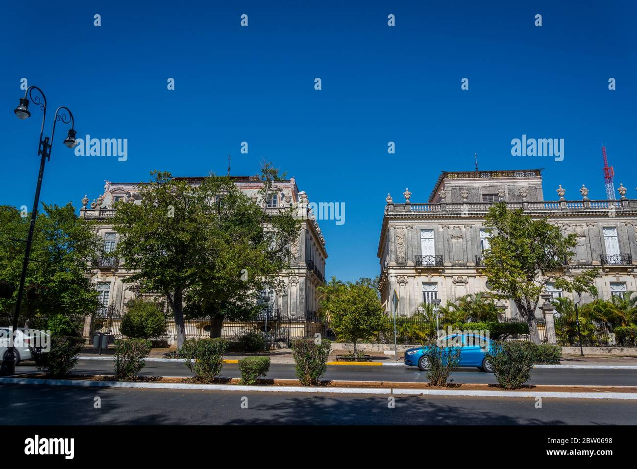Famous Twin Mansions at the Paseo de Montejo - a famous 19th century avenue modelled on the French boulevard, Merida, Yucatan, Mexico Stock Photo