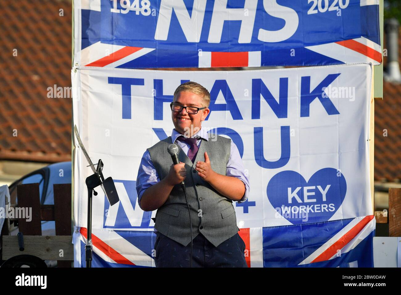 Joshua Morton Outside His Home In The St George Area Of Bristol Joining In The Applause To Salute Local Heroes During Thursday S Nationwide Clap For Carers To Recognise And Support Nhs Workers