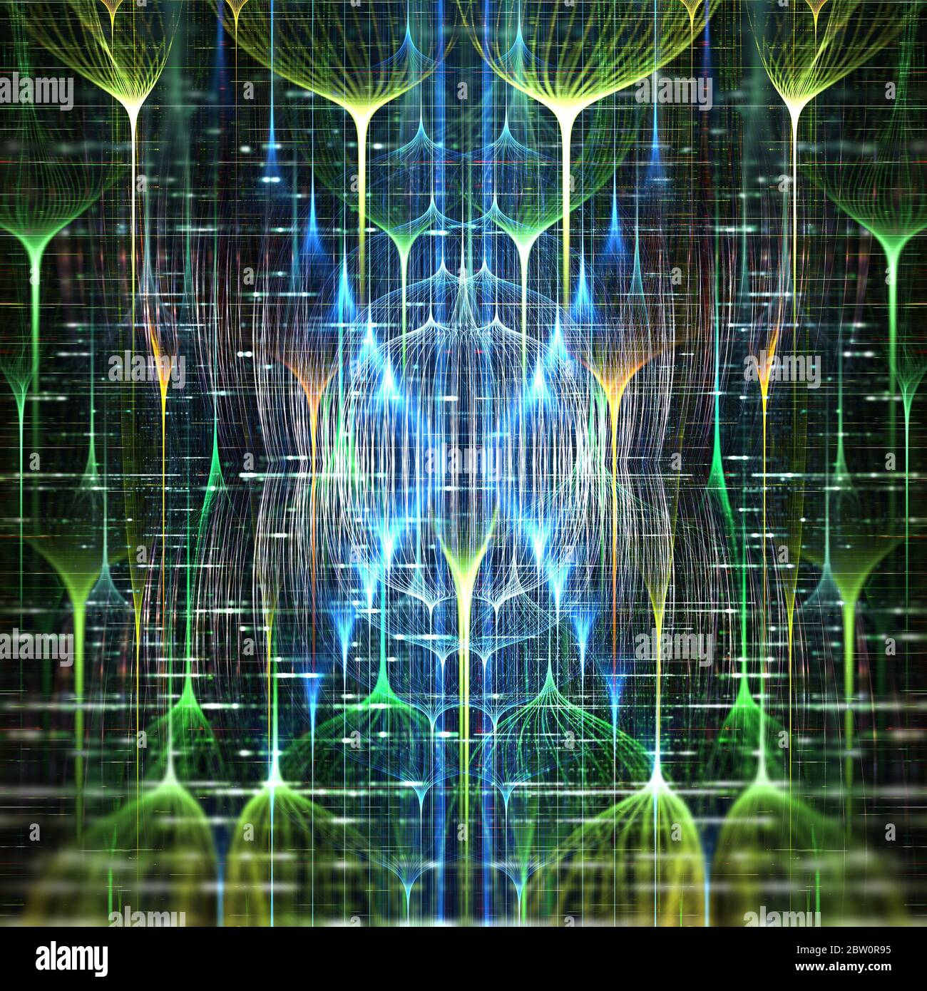 Field of futuristic neural networks, deep learning concept Stock Photo