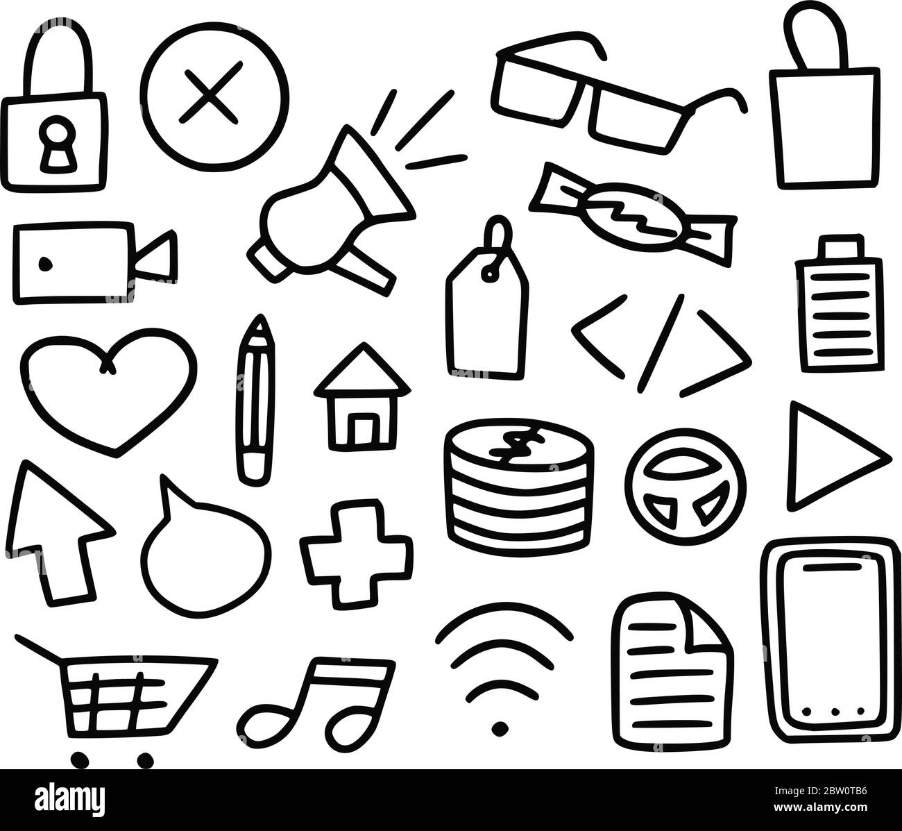 Mega collection of doodle items. Vector set Hand-drawn icons of different subjects Stock Vector