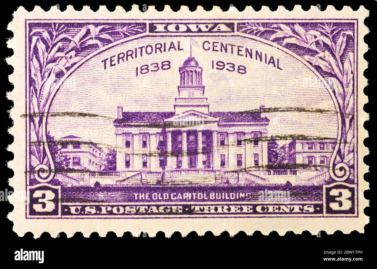 A 1938 US Postage Stamp commemorating Iowa Territory Centennial. The image shows the Old Capitol Building. Stock Photo