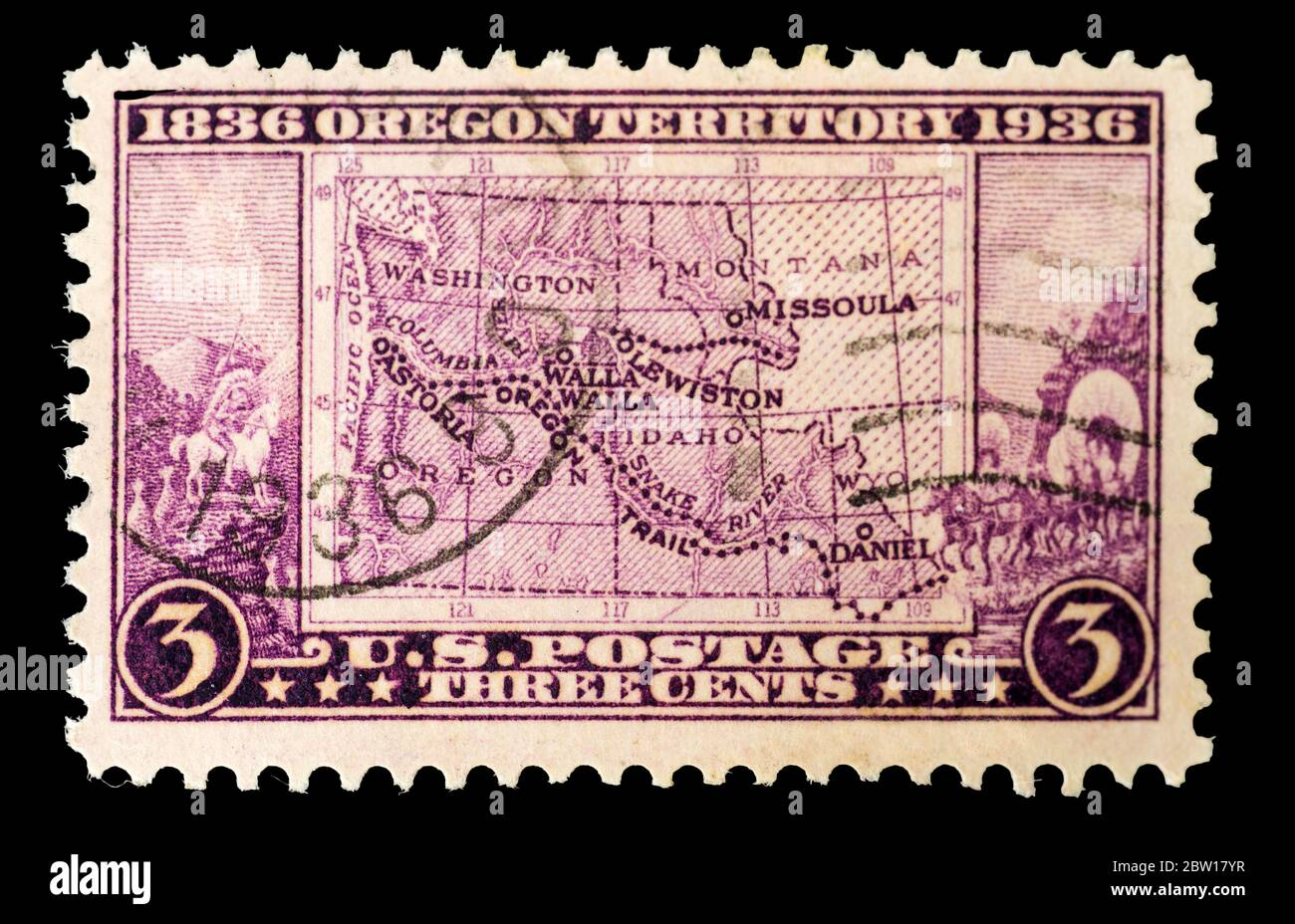 A 1936 United States Postage stamp commemorating the Centenary of the Oregon Territory. Stock Photo