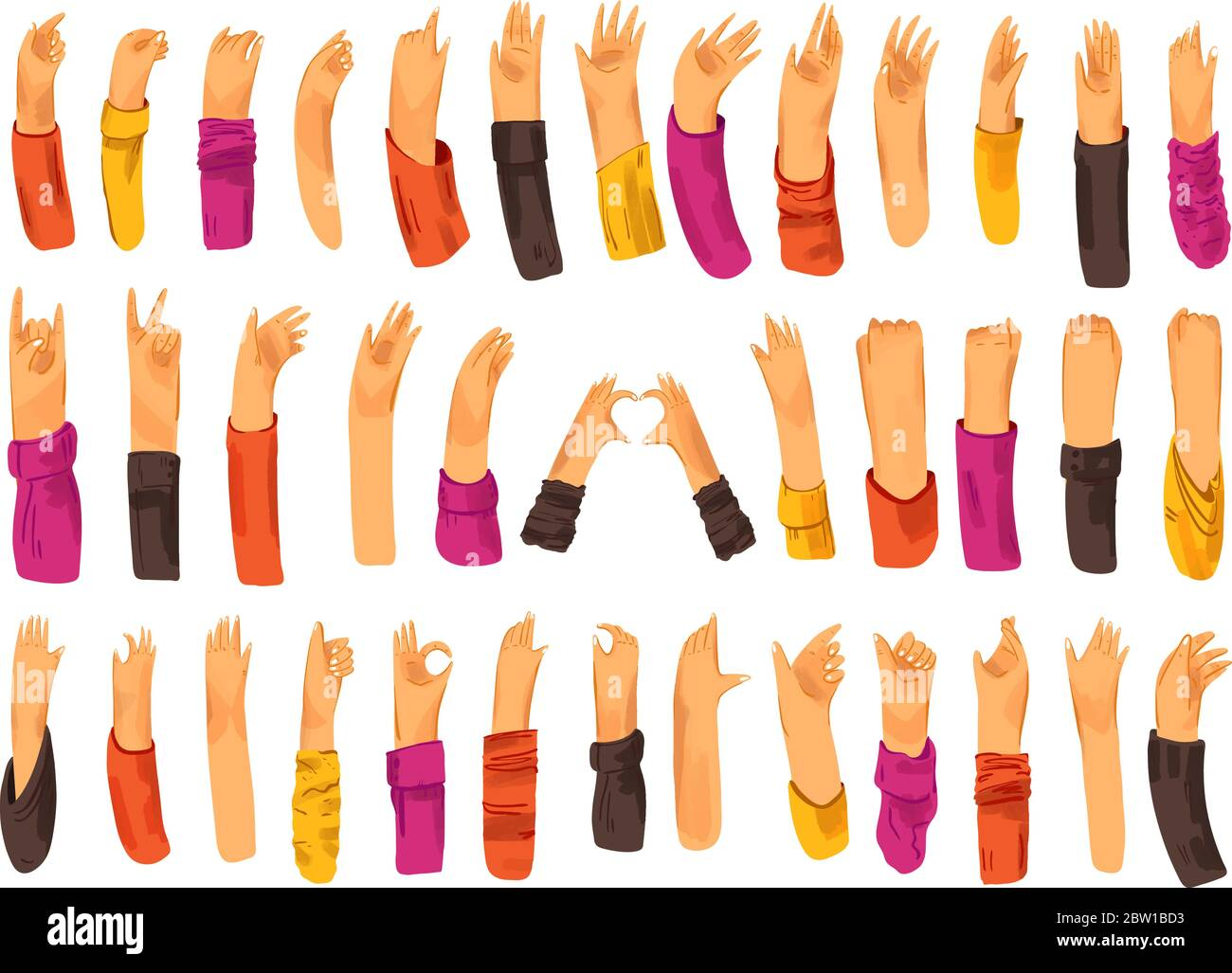 Human hand with collection of signs and hand gestures - ok, love, greetings, waving hands, phone and app control with fingers, fist up. Man and woman Stock Vector